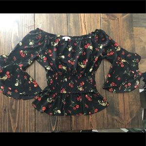 Black Floral XL blouse Timing Brand